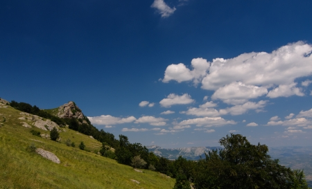 Sunny day on mountain plateau, Crimea, Ukraine photo