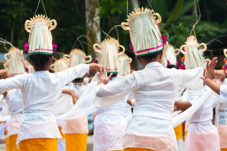 Little girls dance legong, Titra Empul, Bali, Indonesia photo