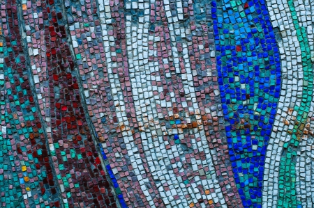 Old colorful mosaic wall texture photo
