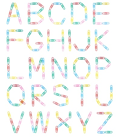 Uppercase english letters made with colored clips