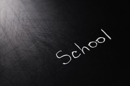 Conceptual phrase written on school board by chalk photo