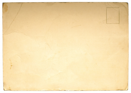 Reverse side of an old postal card isolated on white photo