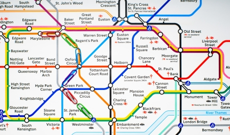 Variegated paperclips on the map of London metro