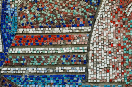 Old colorful mosaic wall texture Stock Photo