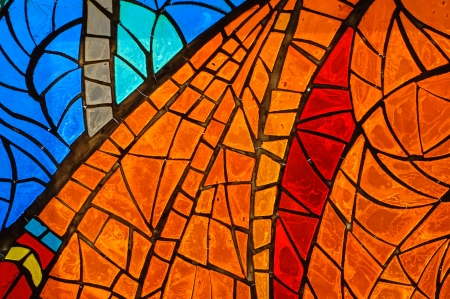 Old abstract stained-glass window.