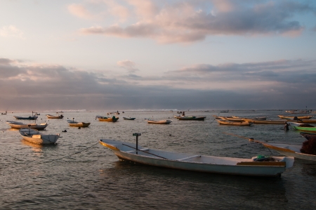 Many boats near Nusa Lembongan island, Indonesia Stock Photo