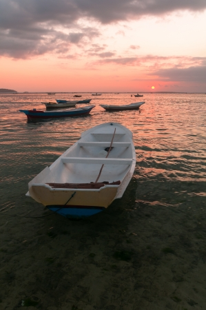 Many boats near Nusa Lembongan island, Indonesia Stock Photo