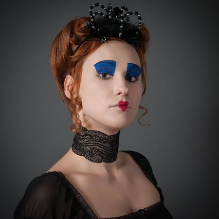 eyeshades: Young girl in the image of the Queen of Hearts from  Alice