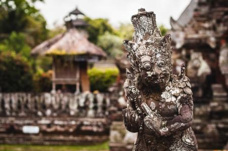 pura: Statue in Pura Taman Ayun - hindu temple near Mengwi, Bali, Indonesia Stock Photo