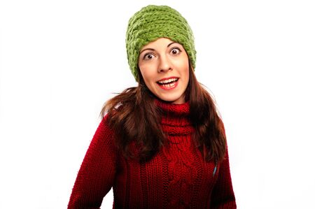 Attractive young caucasian woman in red sweater on white background Stock Photo - 17429812