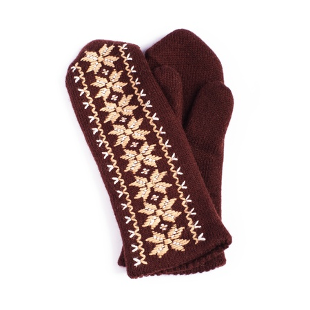 Brown woolen knitted mittens on white background Stock Photo - 17430258