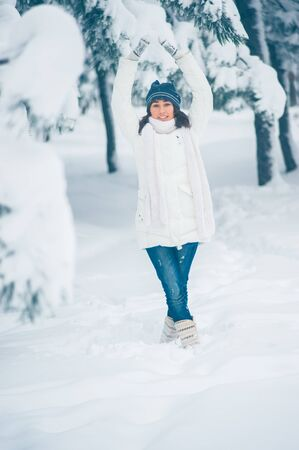 Portrait of beautiful young girl in winter day Stock Photo - 17429809