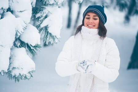 Portrait of beautiful young girl in winter day Stock Photo - 17430241