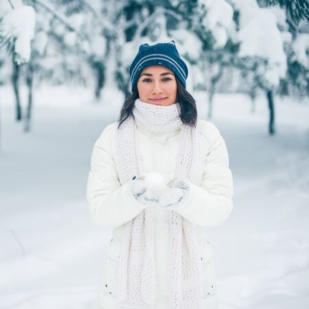 Portrait of beautiful young girl in winter day Stock Photo - 17430540