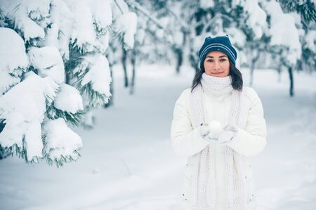 Portrait of beautiful young girl in winter day Stock Photo - 17430216
