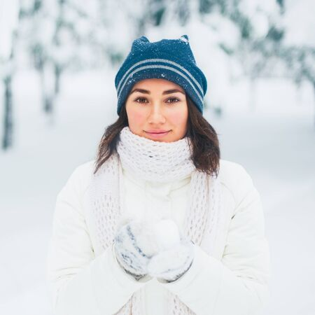 Portrait of beautiful young girl in winter day Stock Photo - 17430545
