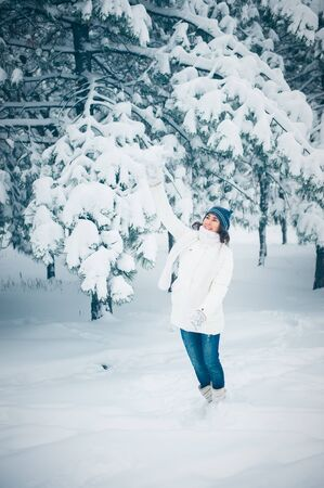 Portrait of beautiful young girl in winter day Stock Photo - 17429379