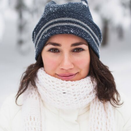 Portrait of beautiful young girl in winter day Stock Photo - 17430633
