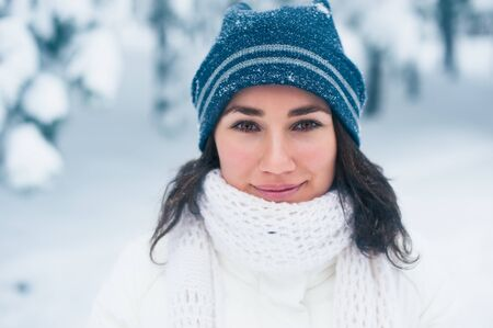 Portrait of beautiful young girl in winter day Stock Photo - 17430255