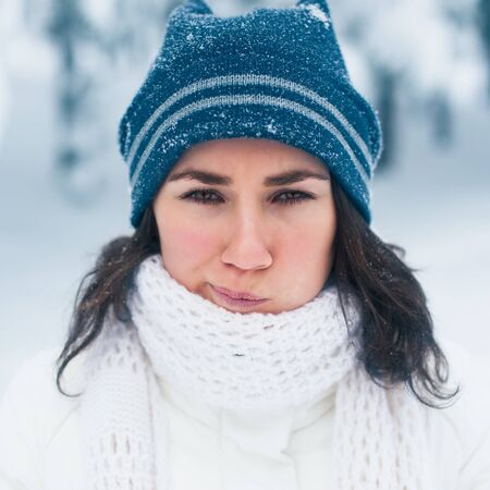 Portrait of beautiful young girl in winter day Stock Photo - 17429810