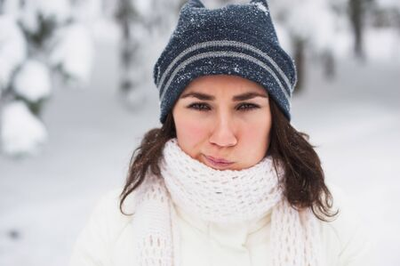 Portrait of beautiful young girl in winter day Stock Photo - 17429815