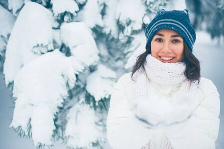 Portrait of beautiful young girl in winter day Stock Photo - 17430225