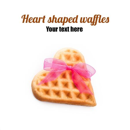 Heart shaped waffle isolated on white background Stock Photo - 17430497