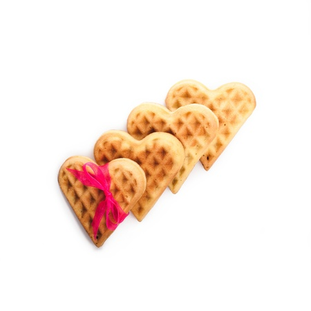 Heart shaped waffle isolated on white background Stock Photo - 17430504