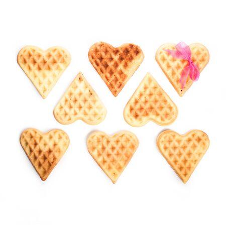 Heart shaped waffles isolated on white background Stock Photo