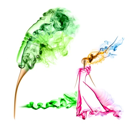 Womans figure made from colorful smoke isolated on white background photo
