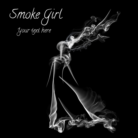 Womans figure made from smoke isolated on black background