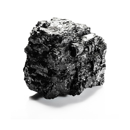 Big piece of coal isolated on white background photo