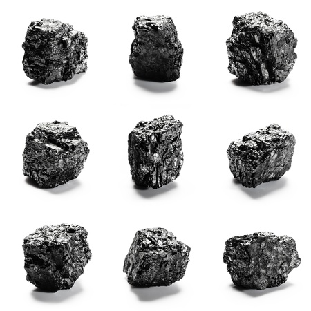 Big pieces of coal isolated on white background