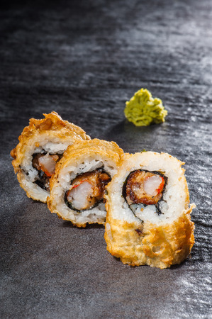 Hot tempura roll with eel and prawn