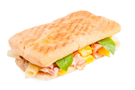 Panini with meat and cheese isolated on white background Stock Photo