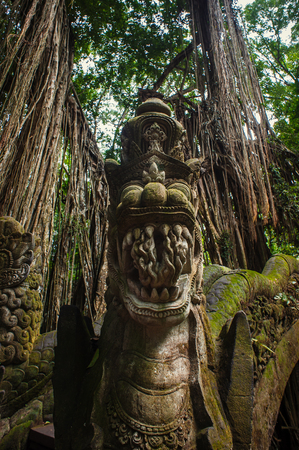 Stutue in Sacred Monkey Forest, Ubud, Bali, Indonesia photo