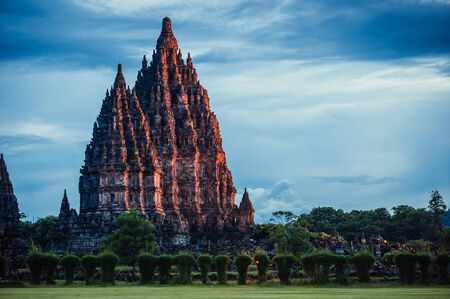 temple tower: Prambanan Temple on sunset, Central Java, Indonesia Stock Photo