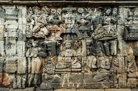 ancient buddhist temple Borobudur is the biggest and most visited buddist temple in Indonesia photo