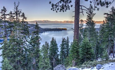 Sunset on Emerald bay, Tahoe lake, USA Stock Photo