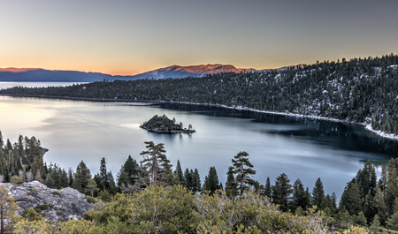 south lake tahoe: Sunset on Emerald bay, Tahoe lake, USA Stock Photo