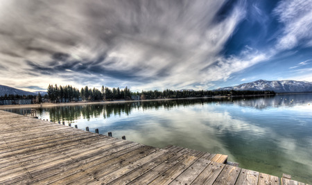 Dramatic winter skies over Tahoe lake, USA photo