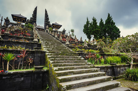 pura: High stairs in Mother Temple of Besakih, Bali, Indonesia