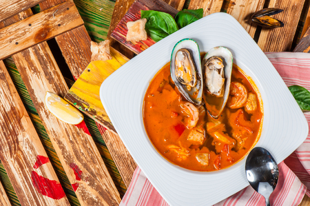 Spanish tomato soup with shellfish, shrimps and other seafood Stock Photo