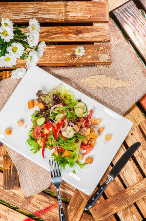Fresh vegetable salad served with fried meat in pan Stock Photo