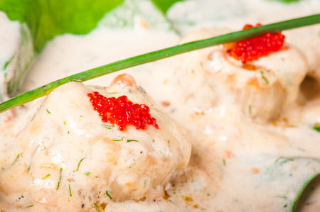 fricassee: Fricassee of sea scallop with cream sauce and fresh spinach