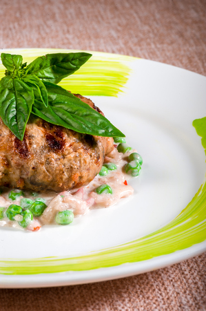 Beef cutlet served with fresh salad and basil leaves Stock Photo