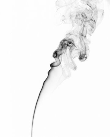 Cloud of black smoke isolated on white background