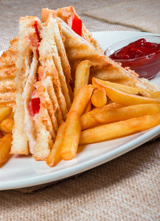 Grilled sandwiches with chicken and egg served with french fries