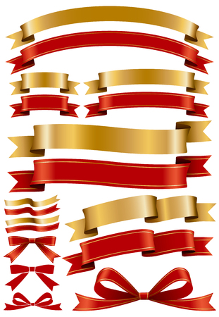 Set of red and gold ribbon 일러스트