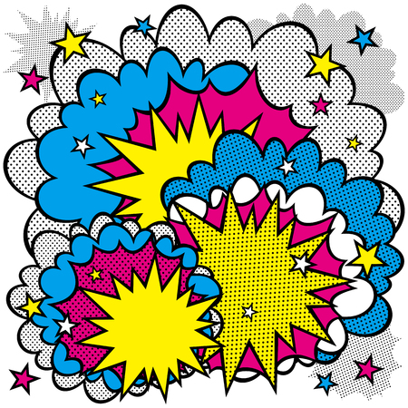 Illustration of an explosion or fight in comics